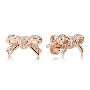 Rose Gold Pandora Bow Earrings